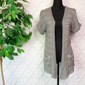 Silence + Noise Grey Striped Open Front Cardigan